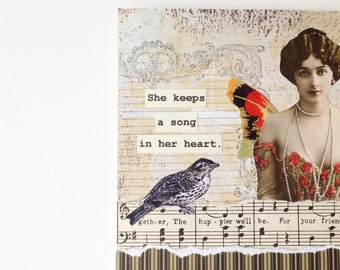 Handmade Card - A Song in Her Heart - collage - vintage music, bird, butterfly -- friendship, congratulations, birthday, thank you