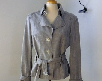 20% OFF Linen Esprit Windowpane Jacket /  Flax Jacket with buckles / Gray blazer / Linen Jacket / Trench style Cotton Belted jacket M - L