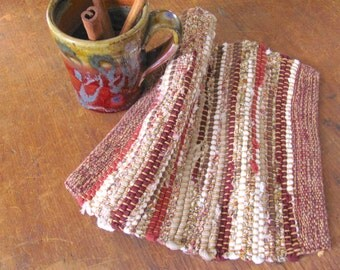 Cranberry Wine Red Brown Rustic Farmhouse Decor Woven Pot Holder, French Country Cottage Kitchen Hot Mat, Mom Gourmet Cooking Baker Gift