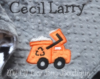 Large personalized baby blanket- garbage truck baby blanket charcoal orange grey and black chevron- stroller blanket-name baby blanket