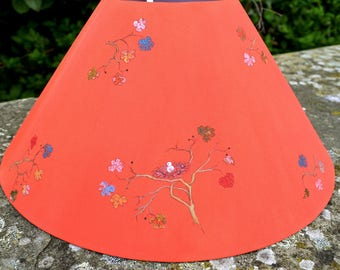 Pair coral red lampshades/hand painted lampshades/white birds in trees/Chinoiserie/Orientalism/bohemian lamp/cottage lamp/Oriental garden