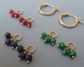 Gold Hoop Earring Gift Set, Gemstone Earring Charm Set,Gold Earring Charms,Interchangeable Charms,Ruby, Emerald,Sapphire Charms,Gift For Her