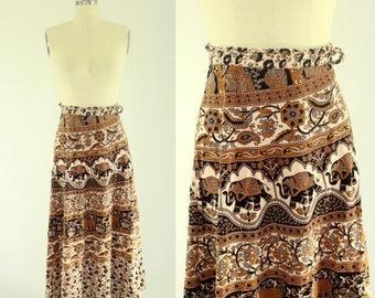 1970's Indian Cotton Wrap Skirt Hippie Boho