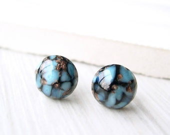 Gold Glitter Stud Earrings- Titanium Posts, Turquoise Blue, Black, Nickel Free Studs, Lampwork, Vintage Glass Cabochons, Matrix