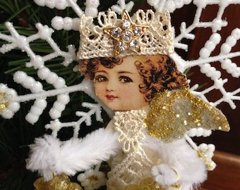 Victorian Pipe Cleaner Old World Type Angel Christmas Ornament