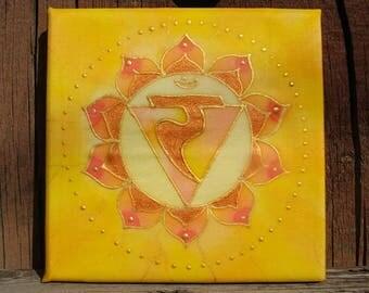 Solar Plexus Chakra Silk Painting Meditation Mandala Yellow Manipura