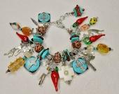 Southwestern Charm Bracelet / Western Bracelet / Multicolor Bracelet / Charm Dangle Bracelet / Southwest Statement Bracelet - KOKOPELLI FUN