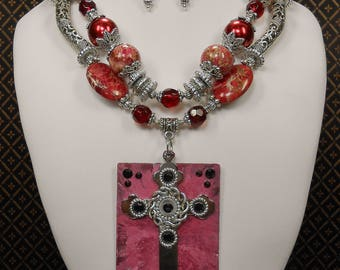 Western Statement Necklace - Cowgirl Necklace Set - Red Necklace Statement Set - Cross Necklace - Religious Necklace Set - RUBY RED CROSS