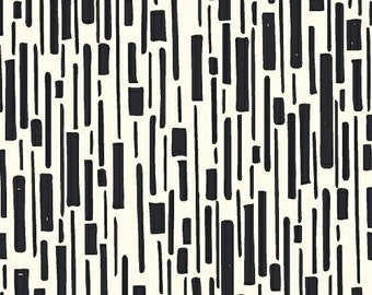 Hand Maker by Natalie Barnes of Beyond the Reef for Windham Fabrics - Full or Half Yard Dashed Abstract Black and White Modern Geometric