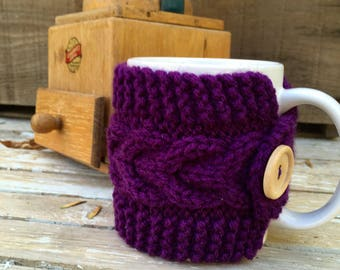 Coffee Mug Cozy, Coffee Cup Cozy, Travel Mug Cozy, Travel Cup Cozy, Cable Knit Cozy in A Dark Purple with Natural, Wood Button