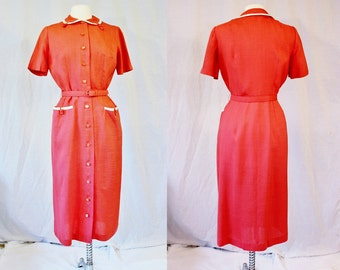 Vintage 1950's Lampl Day Dress Coral Salmon Size 14 Small Medium Vintage Retro 50s Rayon White Trip Hipster Theatre Costume Play Mid Century
