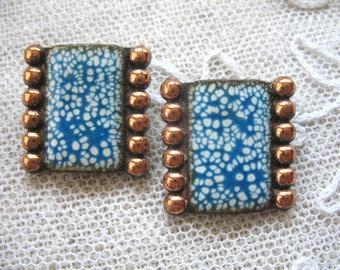 Vintage Matisse Earrings ~ Clip On ~ Copper and Blue Enamel