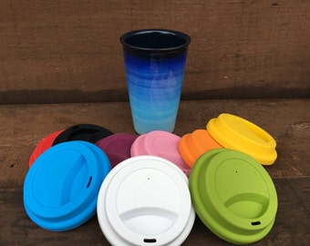 Blue Ombre Ceramic Travel Mug with Silicone Lid - Colorful Gradient Design - Pick Your Lid Color - Shades of Blues