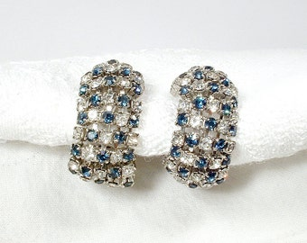 ALICE CAVINESS designer Vintage Art Deco Sapphire Rhinestone Earrings, Silver Navy Blue Crystal Dangles, Bridal Screw Back 1950s Wedding