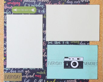 Everyday Memories - Basic Premade Scrapbook Page 12x12 Layout for Album