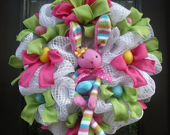 Easter Bunny Wreath, Easter Decorations, Easter Wreath, Easter Door Wreaths, Sock Bunny Wreath, Easter Decor