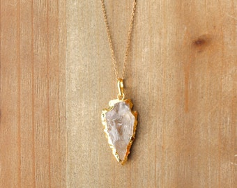 Quartz + Gold Arrowhead Necklace