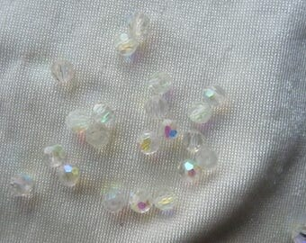 Bead, glass, Crystal AB, 4mm faceted round. Pack of 25
