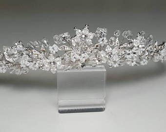 Swarovski Crystal Rhinestone Beaded Bridal Tiara Quinceanera Headpiece Crown