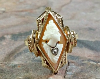 Perfectly Lovely Gold Antique Cameo Ring Habille Cameo With Diamond Necklace Esemco 10k Carved Shell Cameo Very Nice Detail Exc Condition