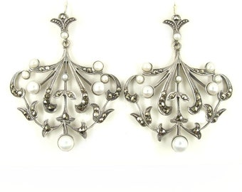 Vintage marcasite statement earrings with freshwater pearls // FWL#653