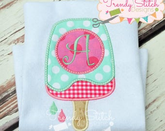 Popsicle Monogram Applique Design Machine Embroidery Design INSTANT DOWNLOAD