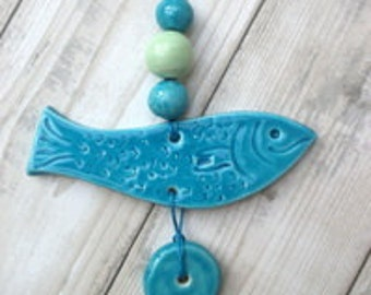 Quirky Ceramic Fish Hanger - with beads