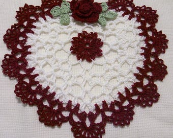 crocheted heart doily burgundy rose and white  handmade