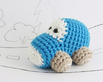 Organic toy car baby rattle - crochet car baby toy - blue and beige