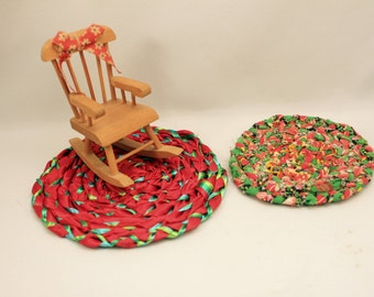 2 Miniature Braided Rugs for Christmas Dollhouse Red & Green Handmade Vintage