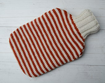 Knitted Hot water bottle in orange and cream stripes wool and alpaca