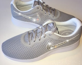 Bling Nike Tanjun Shoes with Swarovski Crystals * Grey * Bedazzled Shoes