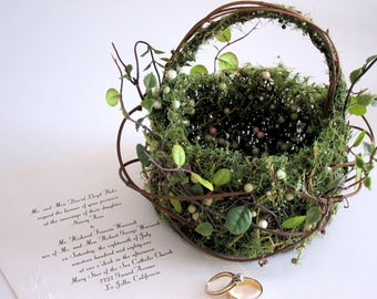 Flower Girl Basket Woodland Wedding Basket Leafy Moss Grapevine Basket Rustic Wedding Basket Garden Wedding Rustic Chic Wedding Basket Small
