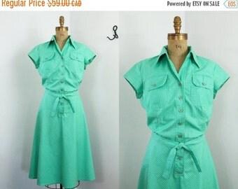 70s dress - striped shirt dress - Foxy Lady dress - vintage 70s day dress - green - large xl - 70s clothing