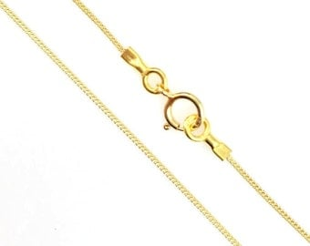 Gold Necklace Chain, Gold plated Sterling silver Chain -Tiny Curb -Long Necklace Chain - Gold Necklace Chain - 22-36 Inches -Sku: 601001_vm