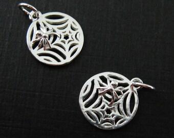 925 Sterling Silver Charm - Silver Spider Web Charm- Spider Charm - Spider and Web- Wholesale Bulk Charms  ( 12mm ) Sku: 201234