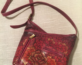 Hand Painted Gold Flowers on Cranberry Leather Vintage BIACCI Crossbody Purse