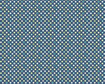 SALE **** Wheels 2 Dots Blue - 1 yard -  by Deena Rutter for My Mind's Eye for Riley Blake Designs.