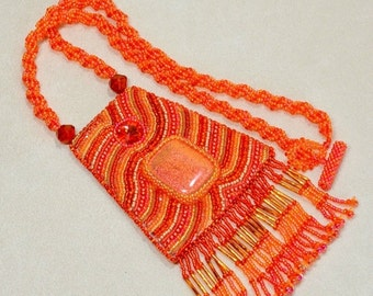 Holiday Sale Orange Pendant necklace Abstract Bead Embroidery