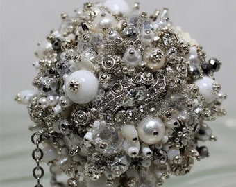 Bejeweled Ornament White and Silvertoned Art Piece OOAK Vintage Jewelry Rhinestones Snowball