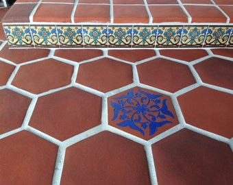 Decorative Handpainted Tile 6x6 ~ Gondola Flower Tile Design ~ Kitchen Tile,  Floor Tile,