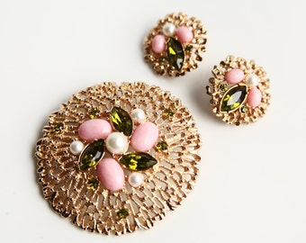 Sarah Coventry Brooch & Earrings ~ Green Pink Gold ~ Retro Fashion Style ~ Signed Sarah Coventry Jewelry