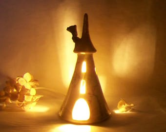 Fairy Tower - Night Light - Pink Roof - Rapunzels Tower -  Wheel Thrown - Hand Painted Rose Vine - Ready to Ship Now - Actual Tower