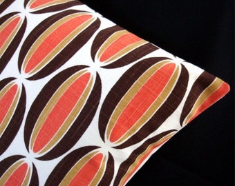 """FAB SALE Modern Pillow Cover - Orange, Brown, Off-White - Spice Loops Fabric - 15"""" x 15"""" for 16"""" insert"""