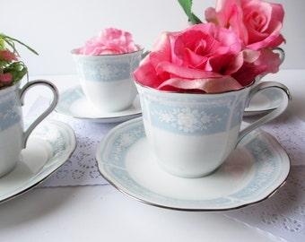 Vintage Noritake Teacups and Saucers Lacewood Pink Blue Floral Set of Four