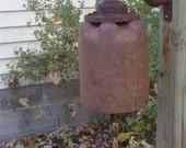 Metal Garden Bell, Outdoor Garden Gong, Steampunk Style, Industrial Chic, Handmade