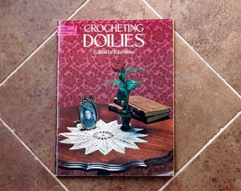 Crochet Doily Patterns, Rita Weiss, Dover Needlework Series, Crocheting Doilies, Vintage Book for Making Table Accessories