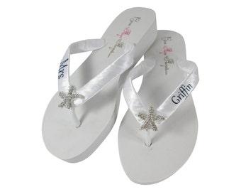 c6c7bd9c3d41 bride bridal wedding flip flops starfish bridal bling flip flops with mrs  last name ivory black