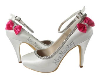 You pick bow & lettering colors : Ankle Strap Ivory Bridal High Heels, Custom with Last name, wedding date, Bridal Shoes with Bling