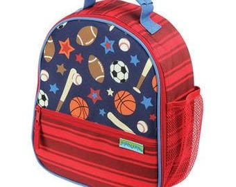 Personalized sports lunch box/ Stephen Joseph lunch box/ Stephen Joseph backpack/baseball lunch tote/monogrammed lunch box/ boys lunch box